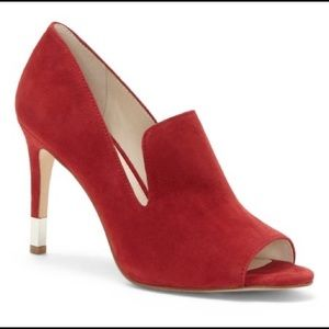 Louise et Cie Cherry Red Suede Peep-Toe Pump